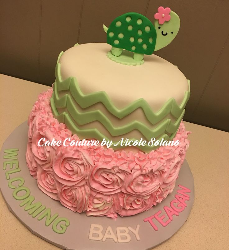 Turtle Baby Shower Cake Chevron Lime Green And Pink Cake