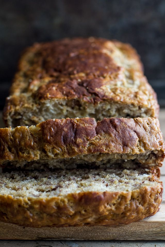 This healthier Greek Yogurt Banana Oat Bread is made without butter or oil, but so soft and tender that you'd never be able to tell!