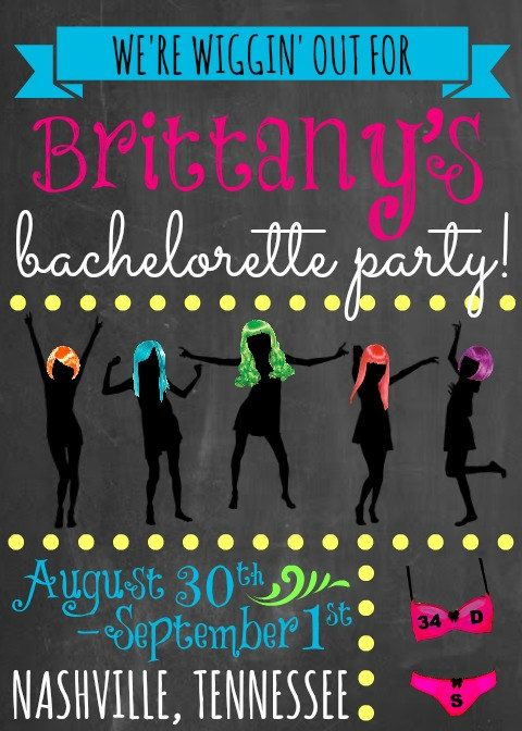 Custom Neon Wigging Out Themed Bachelorette Party by OohLaLlew, $36.00. @Melissa Squires McAleese @Alexandrea Huddleston Whitfield