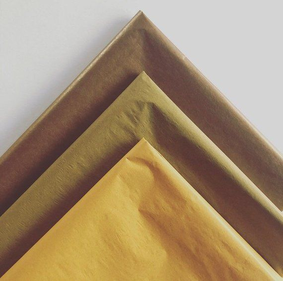 Tissue Paper Sheets Bronze Copper Mustard Ochre Retail And Etsy Gold Tissue Paper Diy Art Projects Tissue Paper Crafts