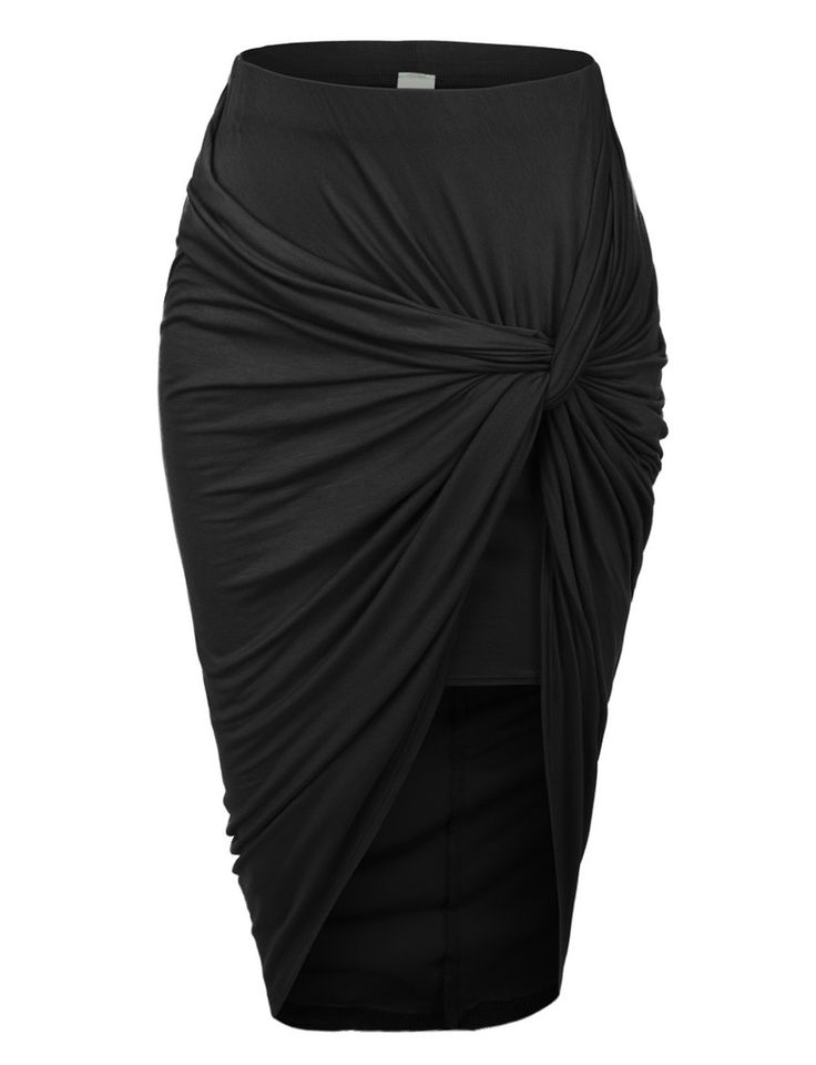 Womens Asymmetrical Banded Waist Wrap Cut Out Hi Low Skirt