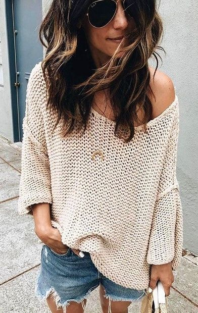 1146f452c21c4 summer outfits Cozy Up Your Cutoffs Wth A Loose Knit And Beachy Waves A La   itsybitsyindulgences  Summer Classics