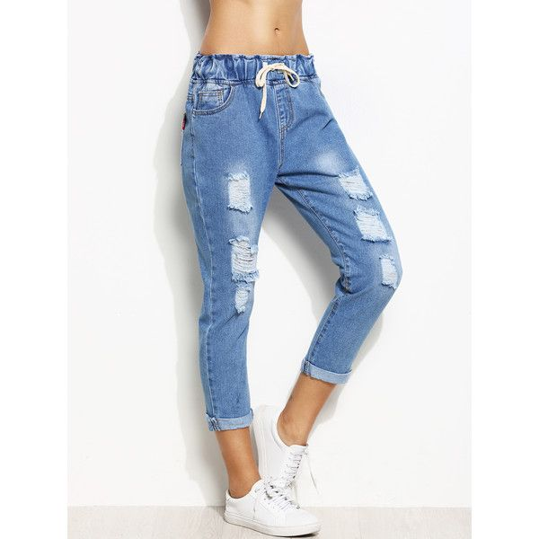 Blue Ripped Rolled Hem Drawstring Jeans ❤ liked on Polyvore featuring jeans, destruction jeans, rolled up jeans, ripped jeans, drawstring jeans and destructed jeans