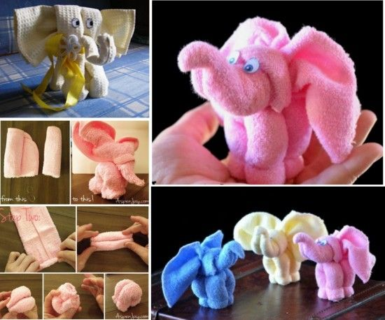 Elephant Washcloths - Cute for a baby shower gift or activity the shower!