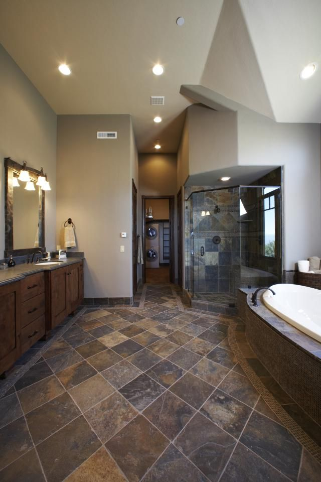 Slate Flooring Pictures: Gold Blush Slate Tile Bathroom Floor