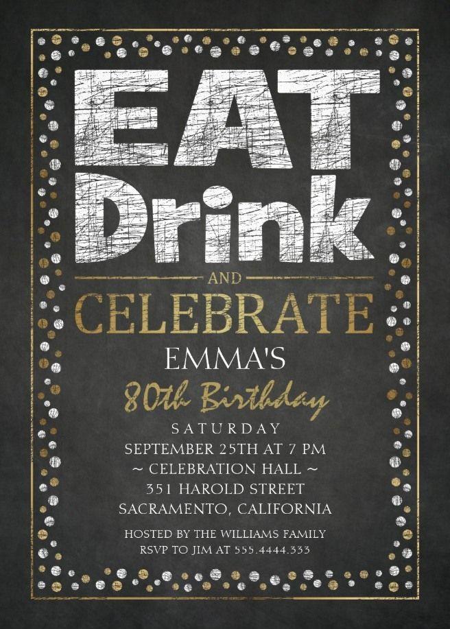 Elegant Adult 80th Birthday Party Invitations Cool Black White Gold Invites Unique Custom