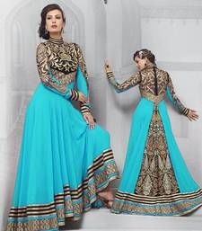 Buy Sky blue embroidered georgette semistitched salwar with dupatta anarkali-salwar-kameez online