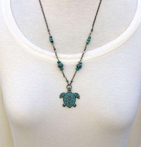 Sea Turtle Honu Necklace Reversible Boho by BrookstoneCottage