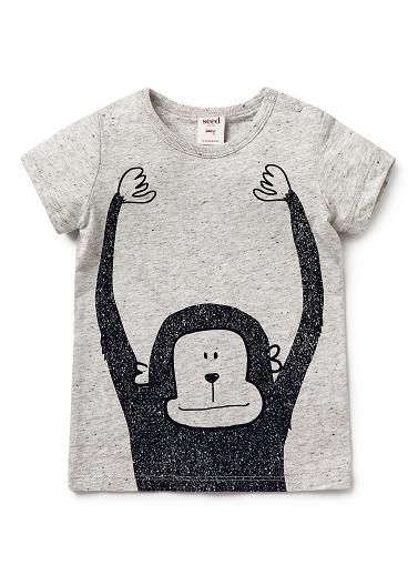100% Cotton short sleeve tee featuring front and back monkey print. Snap fastenings on shoulder for easy dressing.