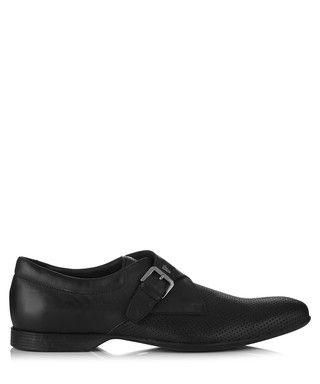 Black & grey leather monk strap shoes Sale - Versace Collection Sale