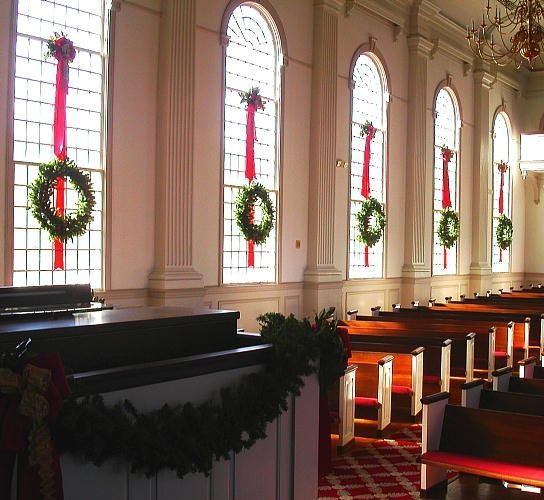 Christmas wreath garland at church