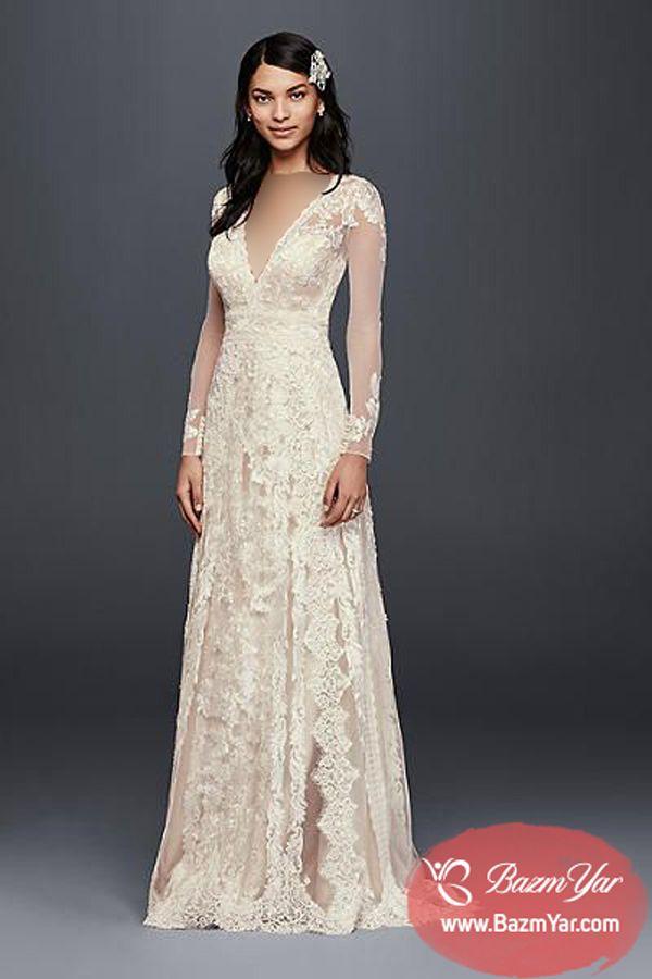 لباس عروس آستین دار 2018 با آستین های دانتل و گیپور بهترین و زیبا ترین مدل  های لباس عروس طراحی بهترین مزون های لباس عروس …  50b7f530e756