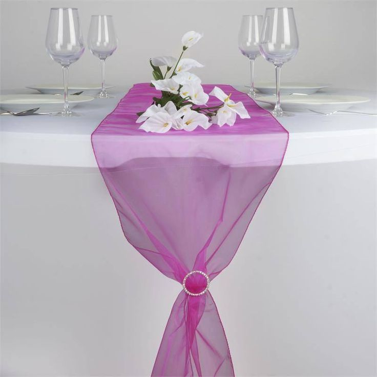 """14"""" x 108"""" Fushia Organza Runner For Table Top Wedding Catering Party Decoration"""
