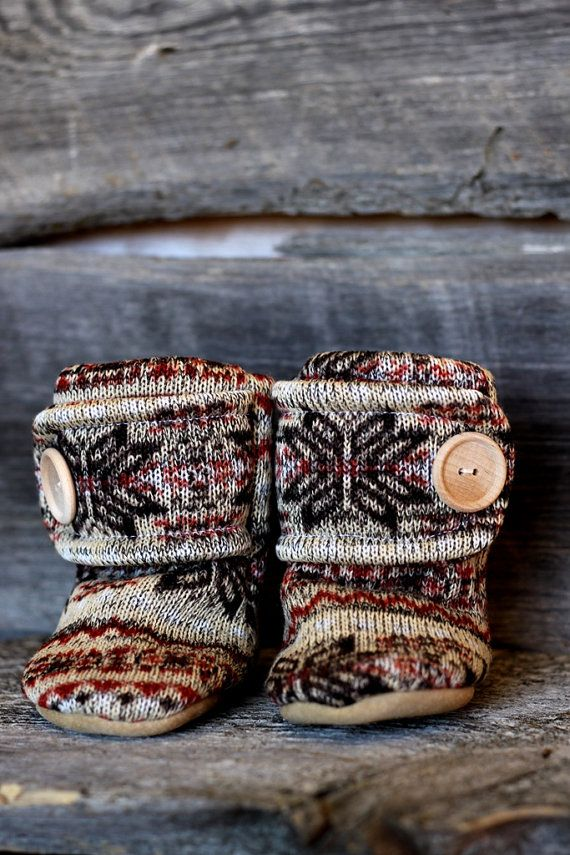 Nordic Leather Soled Fleece Baby Booties. by handmadetherapykids
