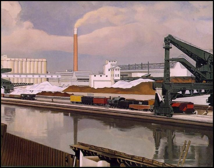 Sheeler, American Landscape, 1930.  One of the unifying themes of the Modernist movement was industrialism.