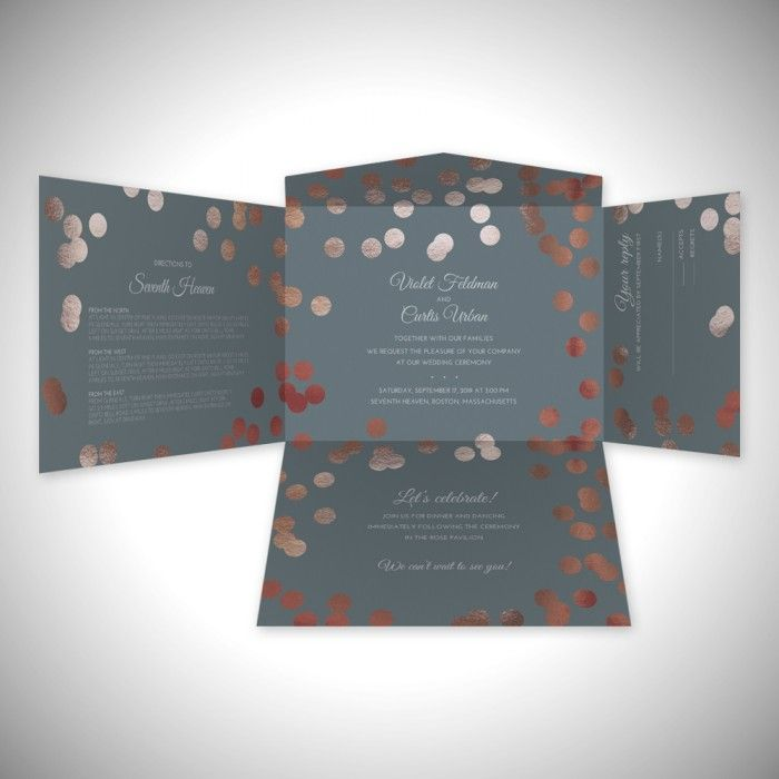 Rose Gold Spritz Self Mailer Wedding Invitation