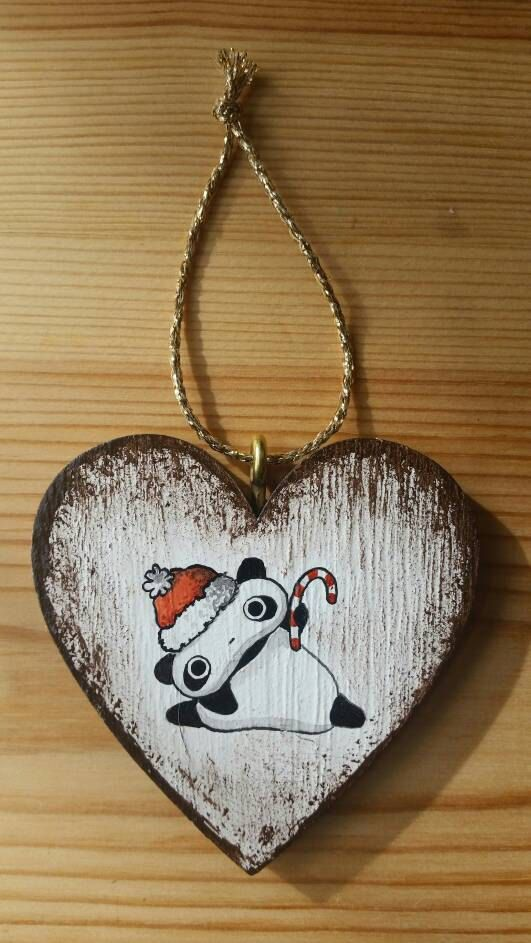Addobbo natalizio dipinto Tarepanda di IsolaSospesa su Etsy