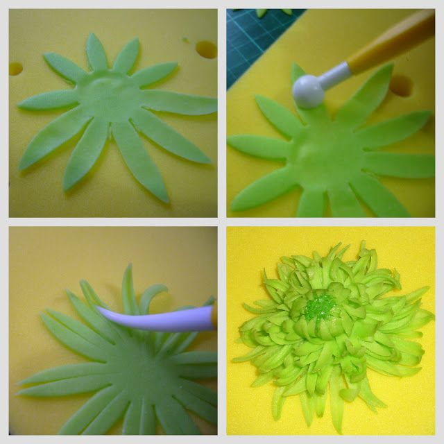 My Delectable Treats: How to make Green Spider Mums Sugar Flower