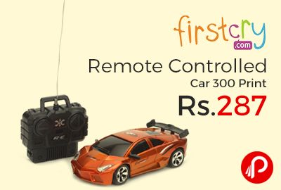 Firstcry is offering 42% off on Remote Controlled Car 300 Print at Rs.287 Only. Amazing remote control speed car for your kids. Your kids will sure to have fun with this car. It is battery operated and runs smoothly with remote.  http://www.paisebachaoindia.com/remote-controlled-car-300-print-at-rs-287-only-firstcry/