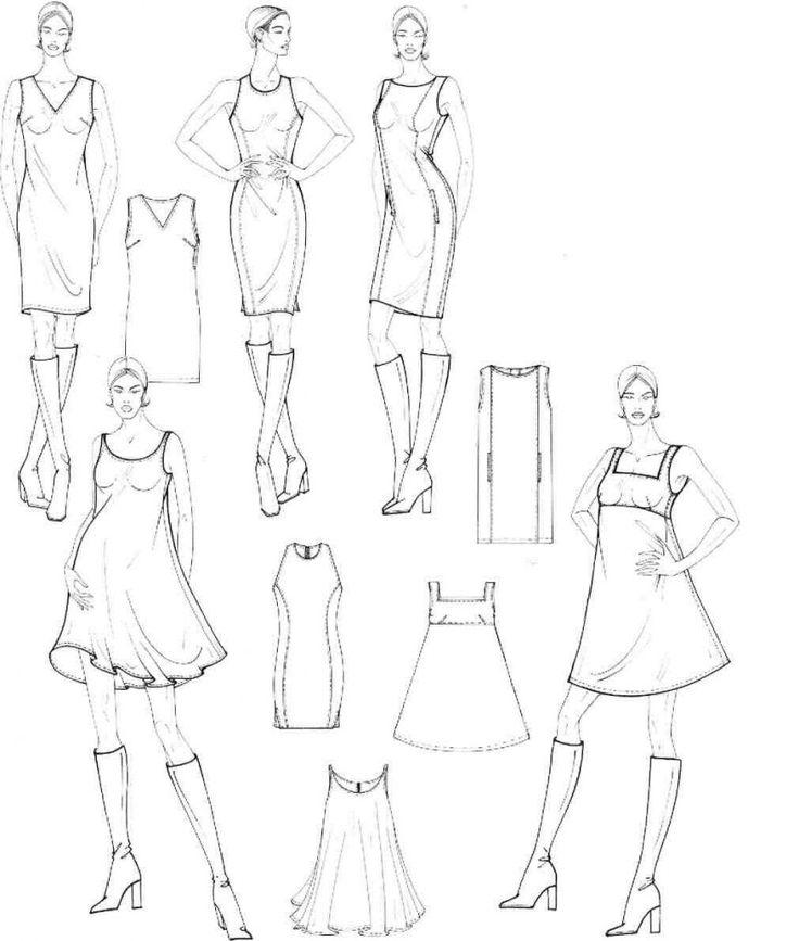 Учимся рисовать fashion-эскиз. Урок 25. Схематичный рисунок. Платья и пальто