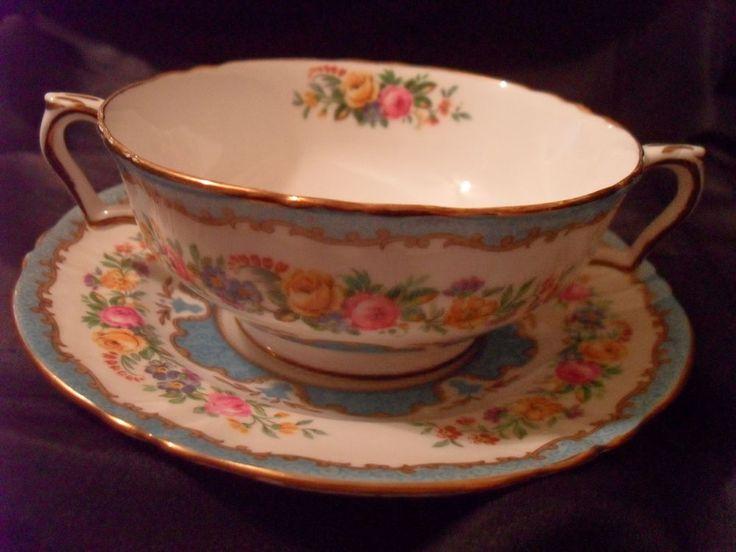PR.-2 SET VTG. CROWN STAFFORDSHIRE CREAM SOUP BOWLS/ SAUCERS/LYRIC TUNIS- GILT in Pottery & Glass, Pottery & China, China & Dinnerware   eBay