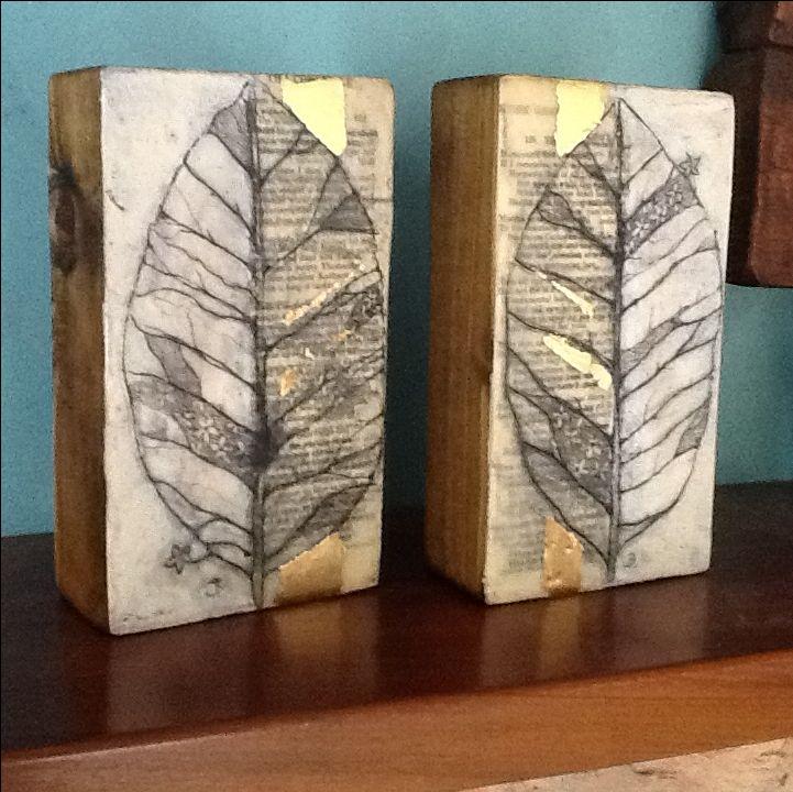 Encaustic panels! Hand drawn, book leaves and gold leaf. Original art .