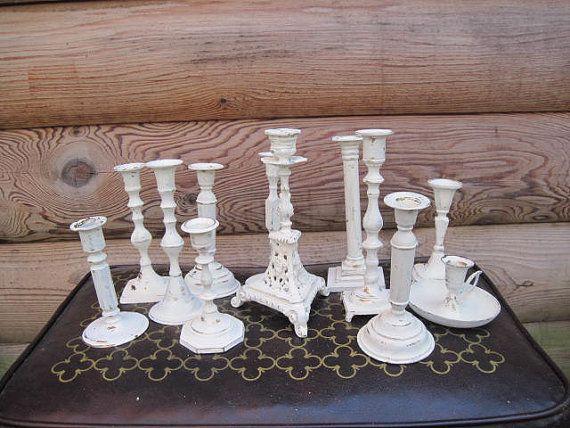 Creamy White Wedding Centerpiece Brass Candle Holders