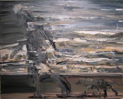 Euan Macleod  Figure and Dog I  Oil on Canvas