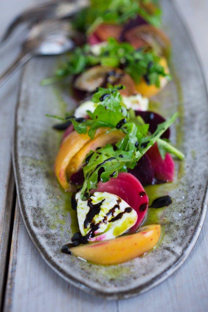An Heirloom Tomato Beet and Burrata Salad