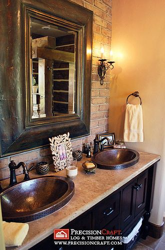 so warm and beautiful. love it.: Timber Home, Rustic Bathroom, Masterbath, Wall Mirror, Bathroom Countertops, Copper Sinks, Master Bathrooms, Brick Walls, Bathroom Ideas
