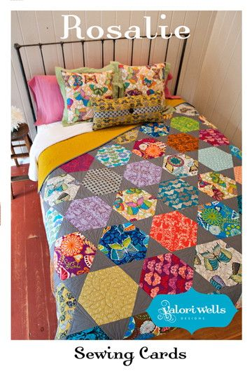 """""""Rosalie"""" hexagon quilt by Valori Wells  An updated version of the traditional hexagon without Y-seams.  http://www.stitchinpost.com/patterns_sc.html"""