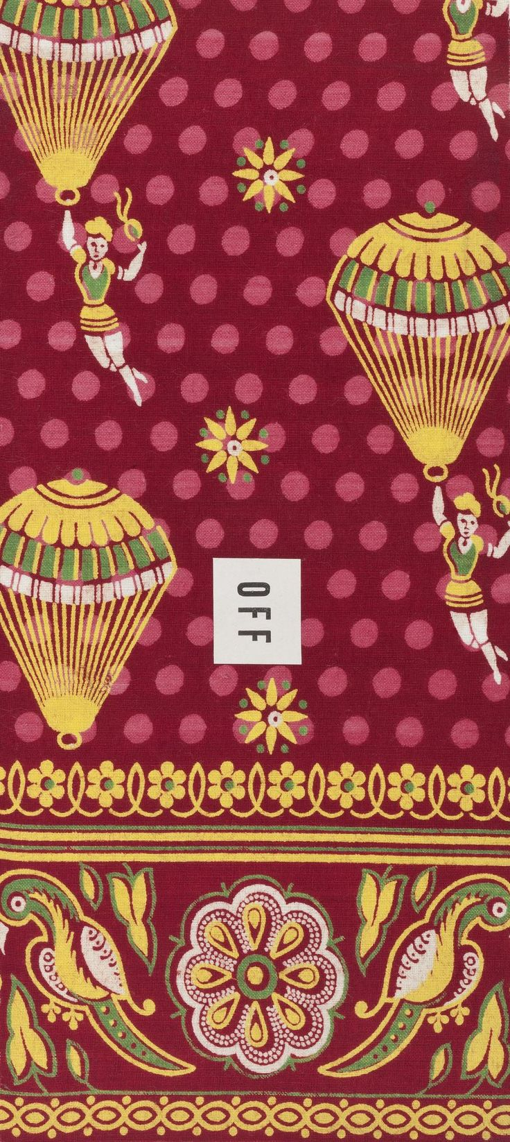 Sample of cylinder printed cotton cloth showing women and parachutes on a spotted ground in 'two red' colouring, with a border of stylised parrots and lotus flowers. From 'Book 9', part of the Turkey Red Collection, A.1962.1266.1 - A.1962.1266.78, with subdivisions, totalling c. 40,000 items: Scottish, Dunbartonshire, by United Turkey Red Co. Ltd, 1898 - 1915