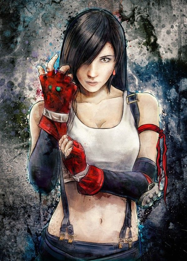 Tifa Lockhart character painting portrait inspired by the classic Playstation/Square game title, Final Fantasy VII. Cosplayer model reference is of Lady Zero