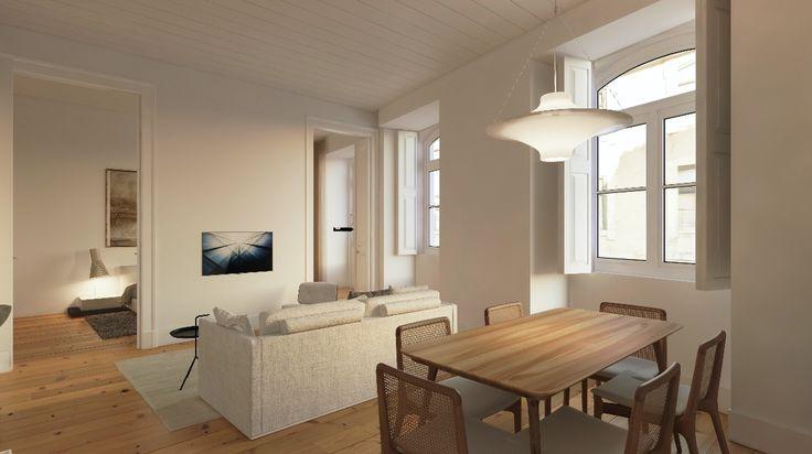 Fragmentos de Arquitectura | Rua do Carmo | Arquitetura | Architecture | Atelier | Design | Indoor | Details | White | Minimal | Living Room | Sofas | Pillows | Minimalism | Side Table | Dinning Table | Windows | Ceiling Lamp