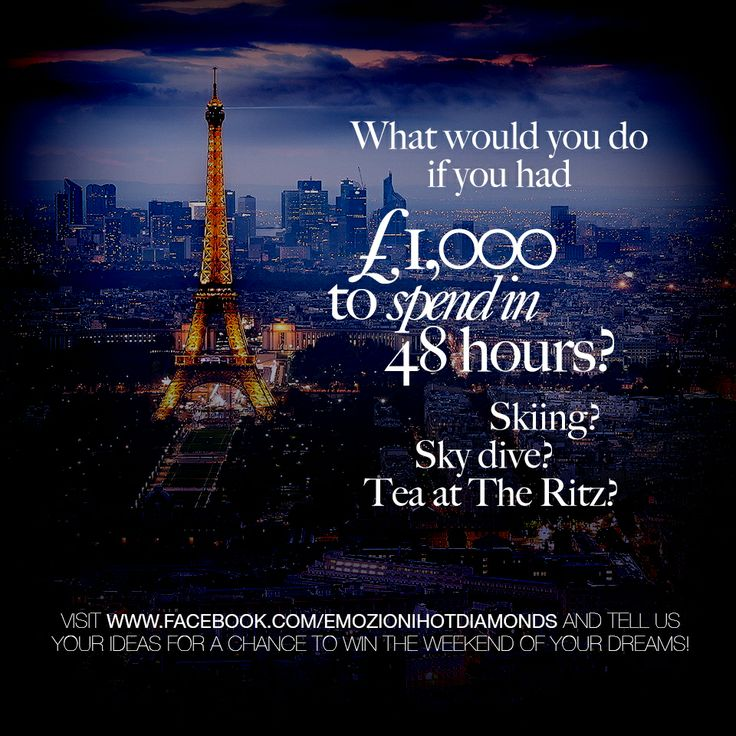 Win £1,000 to spend on experiences in 48 hours! Visit us on Facebook to enter: www.facebook.com/EmozioniHotDiamonds