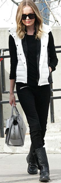 Outfit Posts: outfit post: black sweater, white puffer vest, black skinny jeans, black boots, grey bag