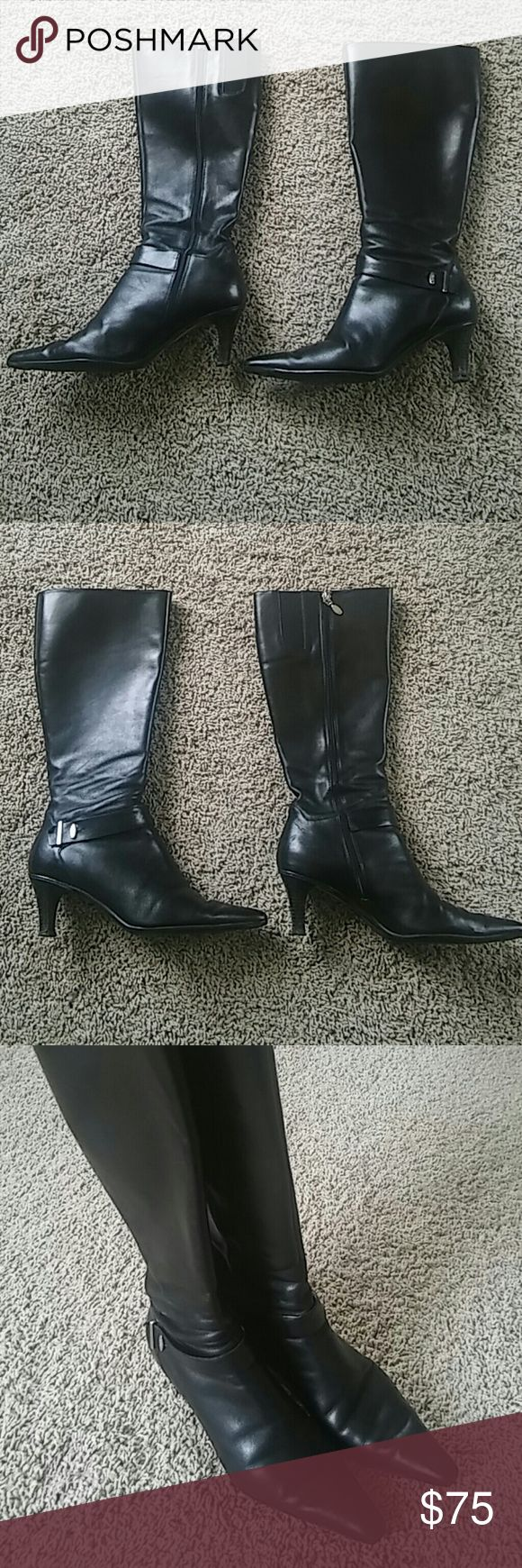 Circa Joan & David Size 8 Black Leather Boots Circa Joan & David size 8 black leather boots. In great used condition with a 2.5 inch heel. Perfect black boots that can go from work to a night out! Check out my other listings & bundle to save or make me an offer! Joan & David Shoes Heeled Boots