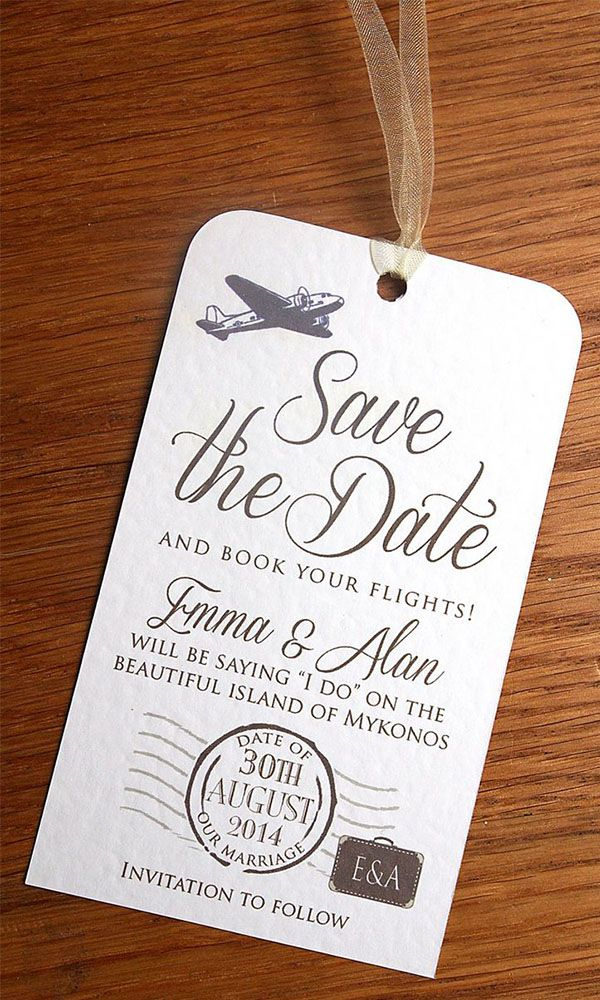 destination wedding save the date - Destination Wedding Ideas - luggage tag save the date
