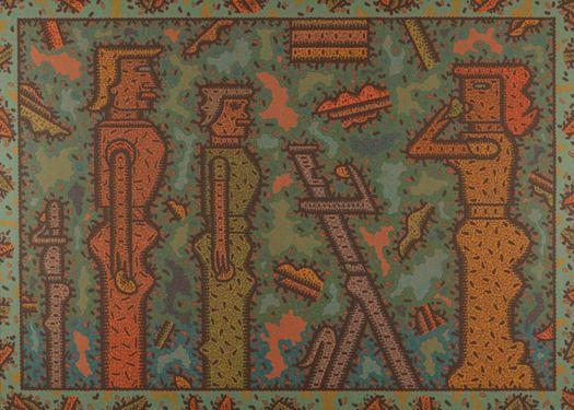 Ray Yoshida, Eating Etiquette, 1982, Acrylic on Canvas, 35 3/4 x 49 3/4 in.  Acc. No : 2011.12.1, Courtesy of the Pennsylvania Academy of the Fine Arts, Philadelphia. Gift of the Raymond K., Yoshida Living Trust and Kohler Foundation, Inc.