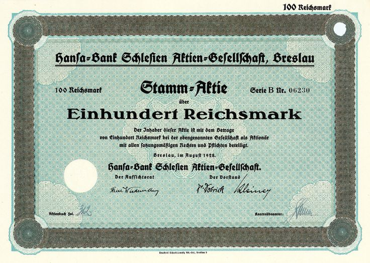 Hansa-Bank Schlesien, Breslau, Aktie über 100 RM von 1928 + SELTEN!