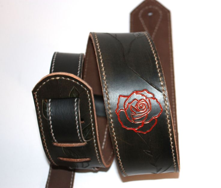 Black Leather Guitar strap with Chocolate Brown suede backing and white wax thread by FlatlineLeather on Etsy