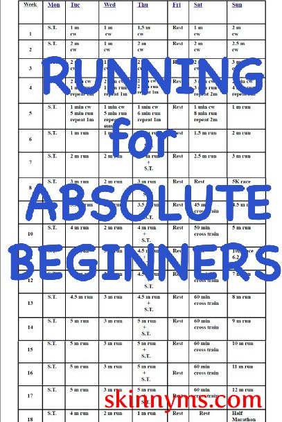 Start out by walking and you'll be ready for a half marathon in 18 weeks. Click on the Training Schedule for a printable program. Running is addictive!