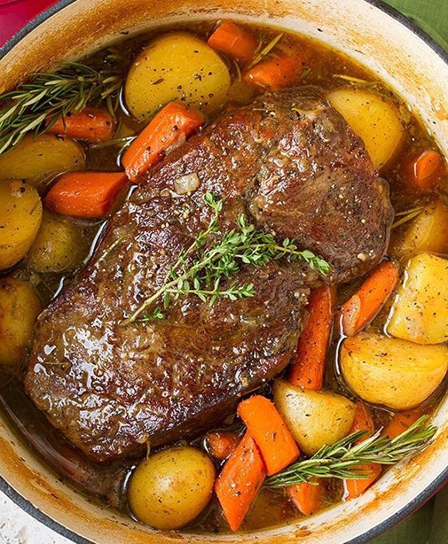 Pot Roast with Potatoes and Carrots By @cookingclassy - More on her feed @cookingclassy Yield: ...