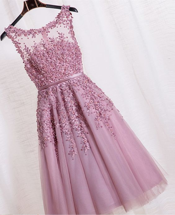 Beauty Graduation Dress,Short Prom Dress, Purple lalic Party Dress, Tulle Homecoming Dress,Beading Prom Dress