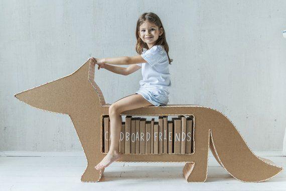 Bibliotheque enfant renard en carton et tissu etagere et rangement idée DIY meuble en carton / Foxy Cardboard Bookshelf by CardboardFriends on Etsy