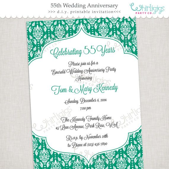 72 best anniversary party images on pinterest anniversary banner 55th emerald anniversary invitation printable digital file or printed invitations with envelopes stopboris Image collections