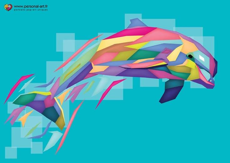 tableau 16 le dauphin multicolore pop art g om trique wpap par dans clara. Black Bedroom Furniture Sets. Home Design Ideas