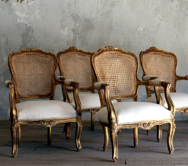 Vintage Shabby Gold Cane Gilt Louis XV French Style Upholstered Armchairs Pair-#gilt, #French, #furniture