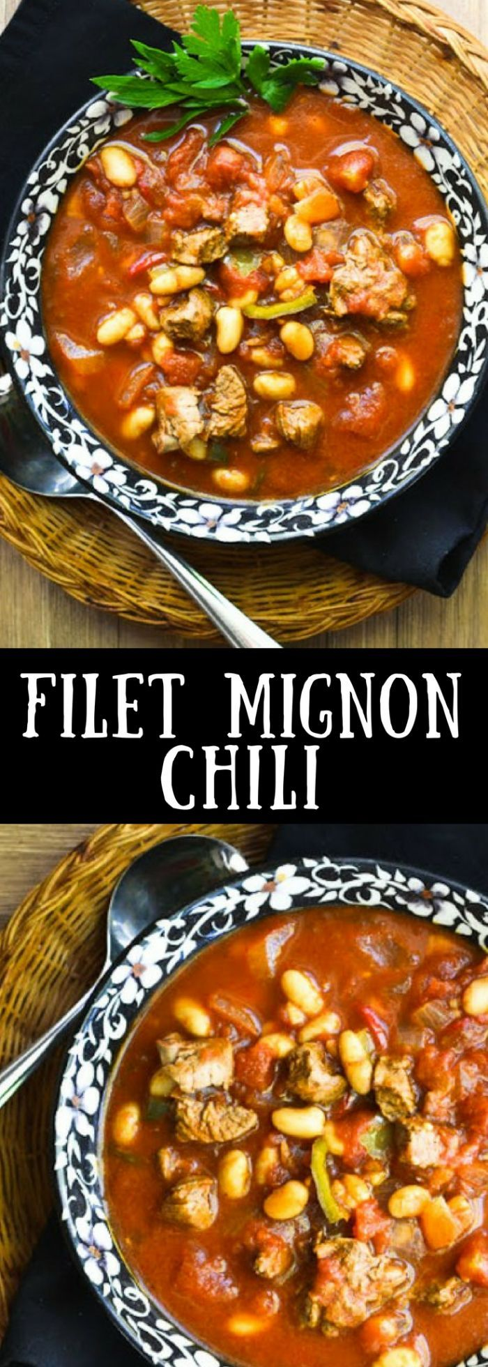I saw Filet Mignon Chili on a restaurant menu once and knew I to try it at home. Filet mignon is a splurge, but a little goes a long way in a big pot of chili and makes this classic comfort dish extra special. #chili #stew #beef #groundbeef #dinner #comfortfood #beefstew #filetmignon #steakchili #steak