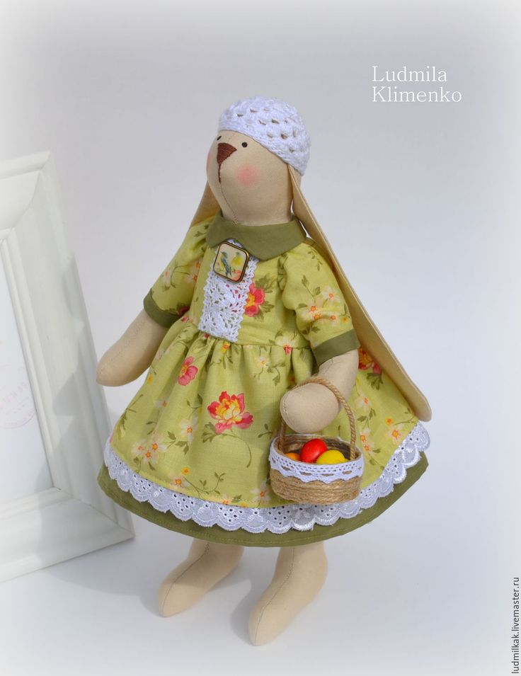 Купить Весенняя Пасхальная зайка. - зеленый, заяц, заяц игрушка, заяц тильда, заяц текстильный